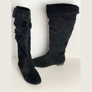 Banana Republic 7.5 black suede slouchy boots